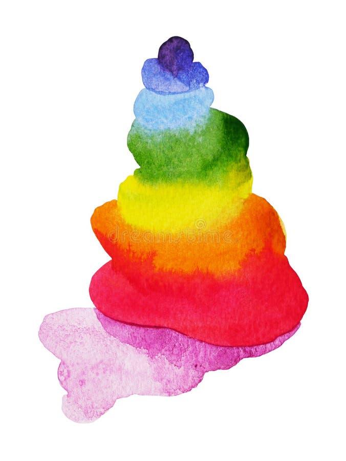 chakra stone, abstract zen concept, watercolor painting illustration design stock illustration