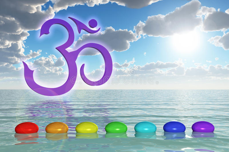 Chakra Stones On The Sea. 3d rendering of a om symbol and chakra stones with rainbow colors vector illustration