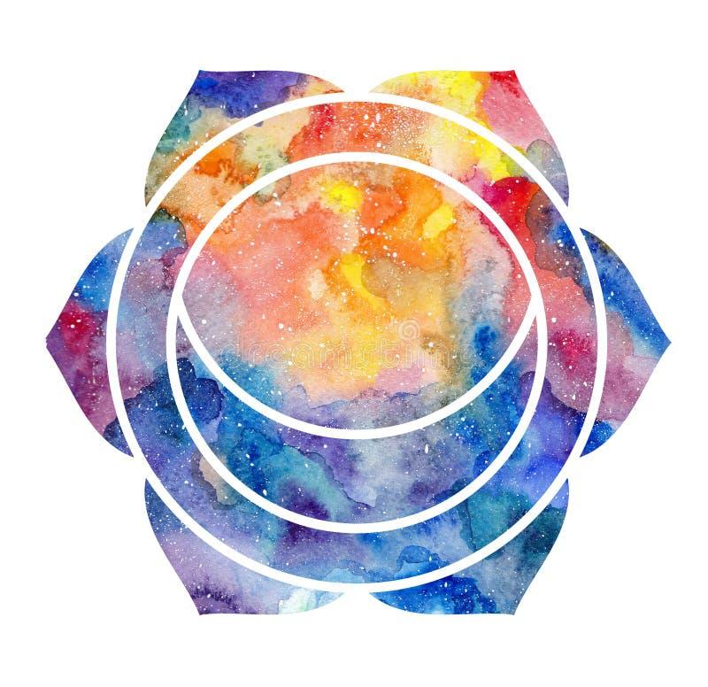 Chakra Svadhisthana sign. Chakra Svadhisthana icon, ayurvedic symbol, concept of Hinduism, Buddhism. Watercolor cosmic texture. Isolated on white background stock illustration