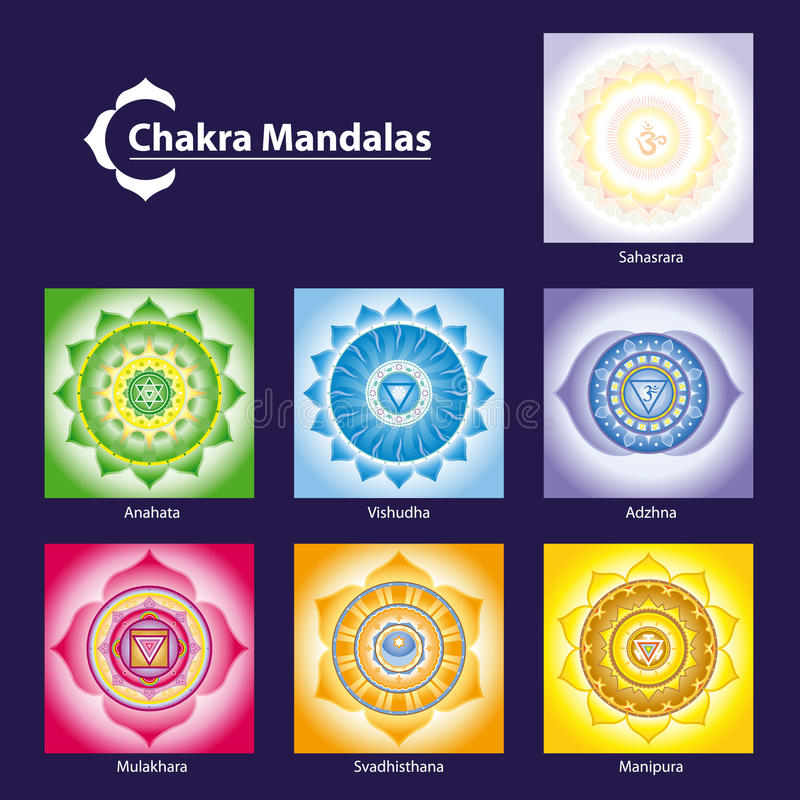 Chakra Symbol-Mandalen lizenzfreie abbildung