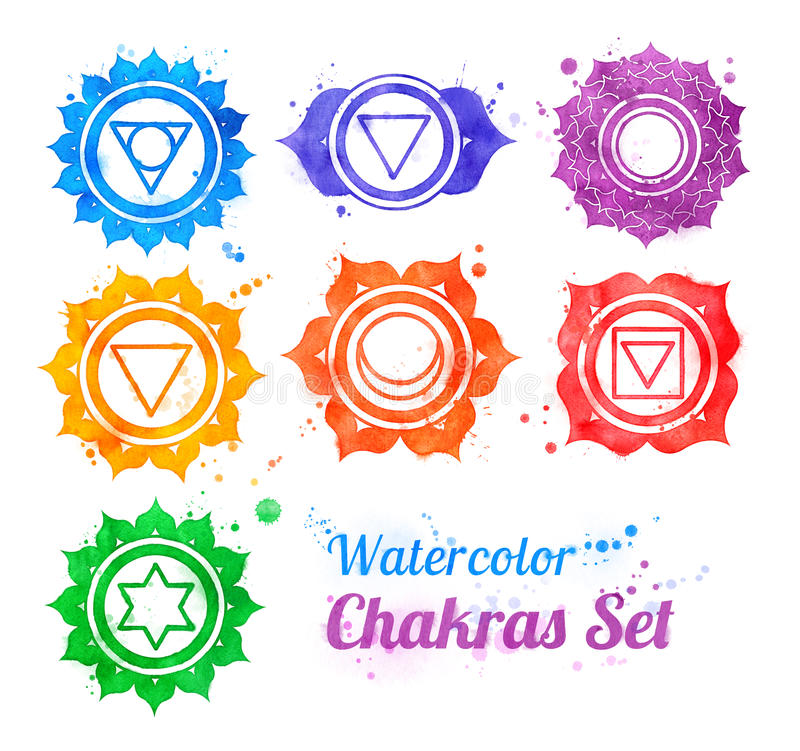 Chakra symbols. Hand drawn watercolor collection of chakra symbols with paint splashes royalty free illustration