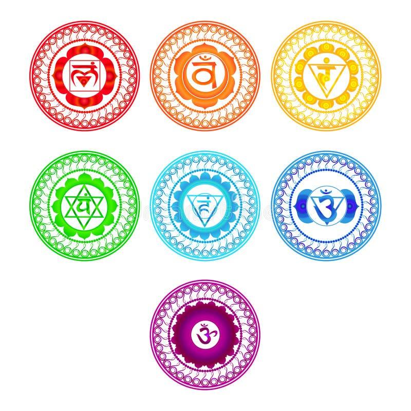 Chakra symboluppsättning royaltyfri illustrationer