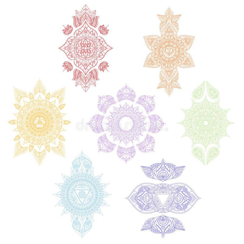 Chakra uppsättning vektor stock illustrationer