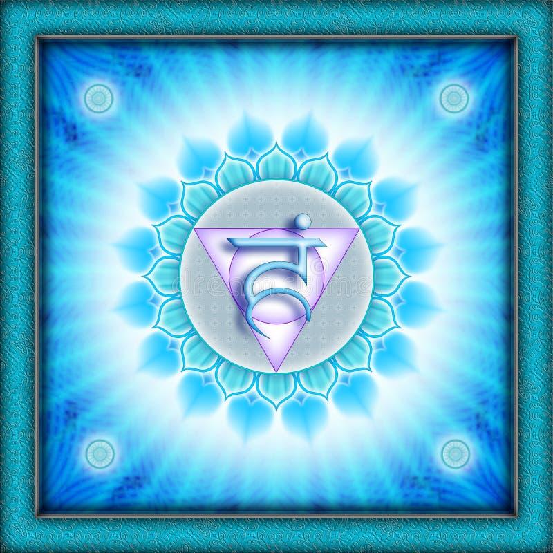 Chakra Vishuddha. It is an illustration of a Chakra vector illustration