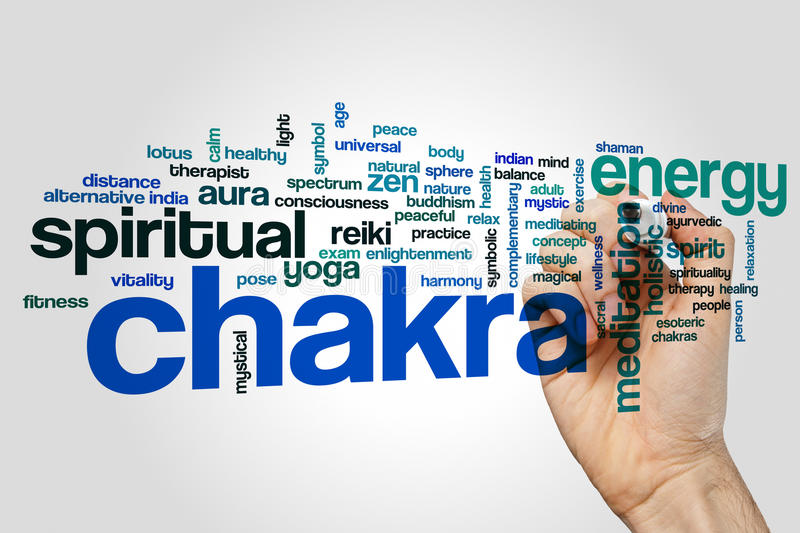Chakra word cloud concept on grey background stock photography