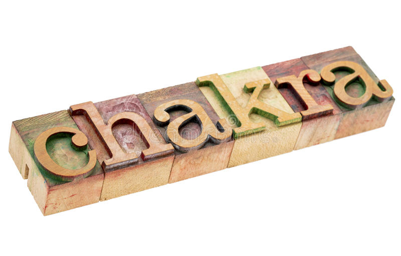 Chakra word in wood type stock image