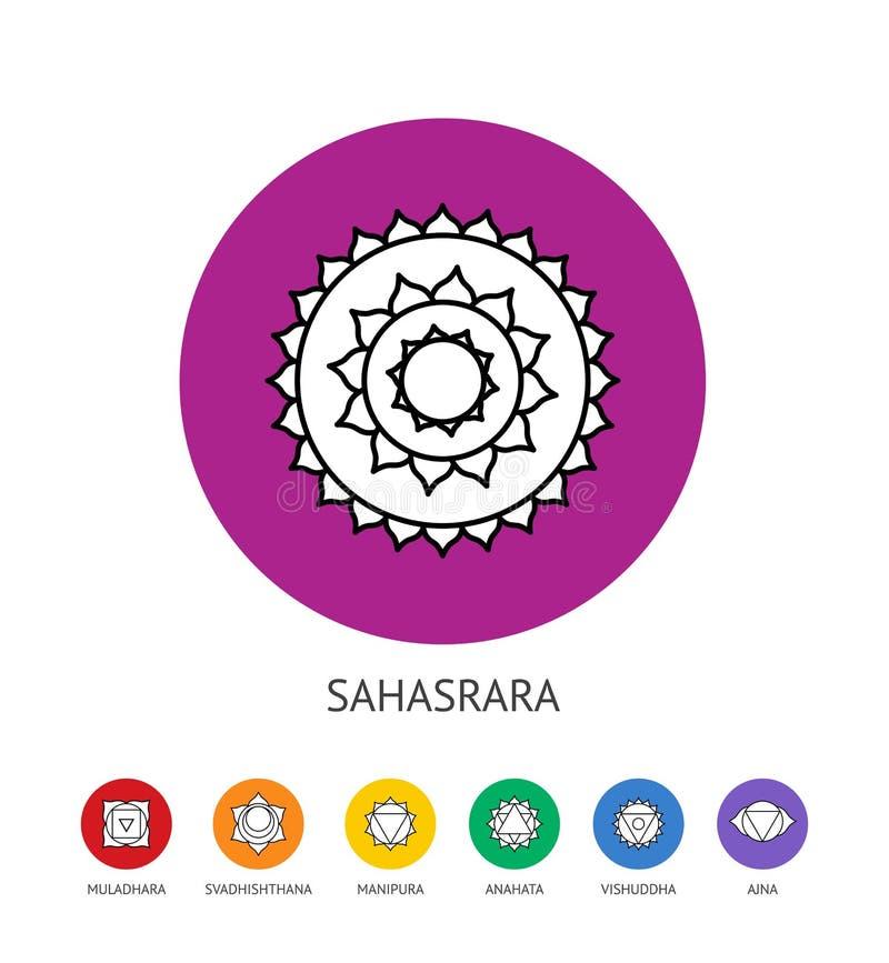 Chakras集合、灵性和能量医治用的概念 皇族释放例证