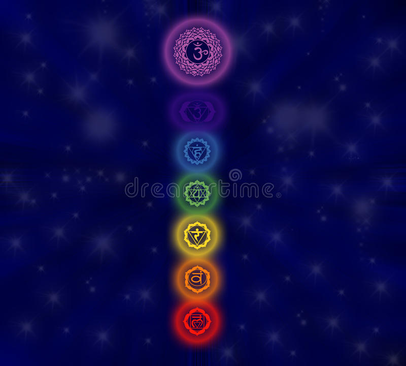chakras επτά διανυσματική απεικόνιση
