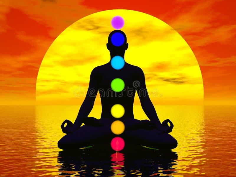 Chakras al tramonto - 3D rendono illustrazione vettoriale