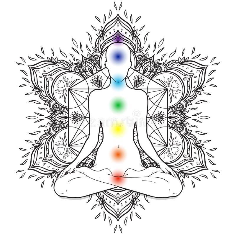 Chakras begrepp Kontur i lotusblommaposition över dekorativ mor stock illustrationer