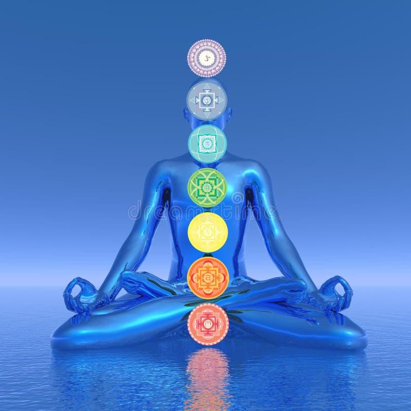 Chakras blue meditation - 3D render royalty free illustration
