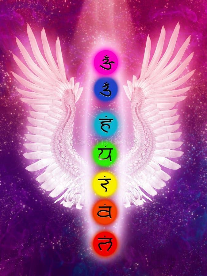 Chakras e Angel Wings ilustração royalty free