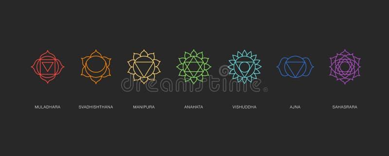 Chakras energy healing, sacred geometry vector. Symbols vector illustration