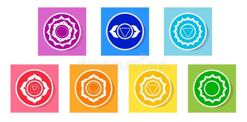 Chakras icons stock illustration
