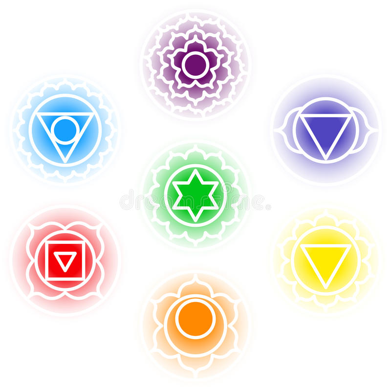 Chakras icons set stock illustration