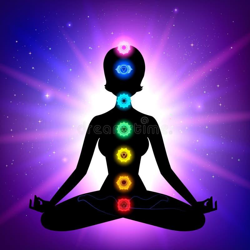 Chakras meditación ilustración del vector