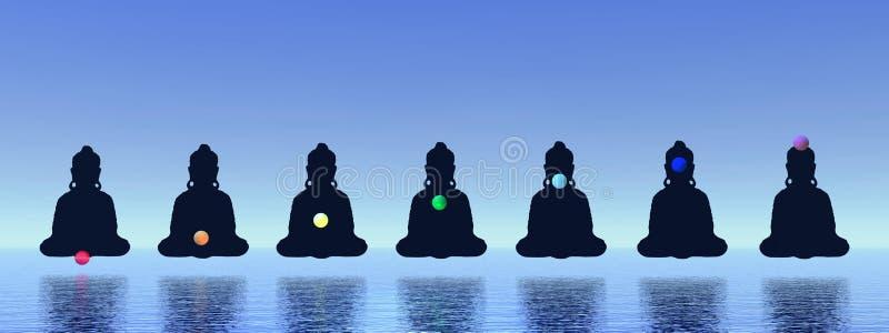Chakras na meditação ilustração stock
