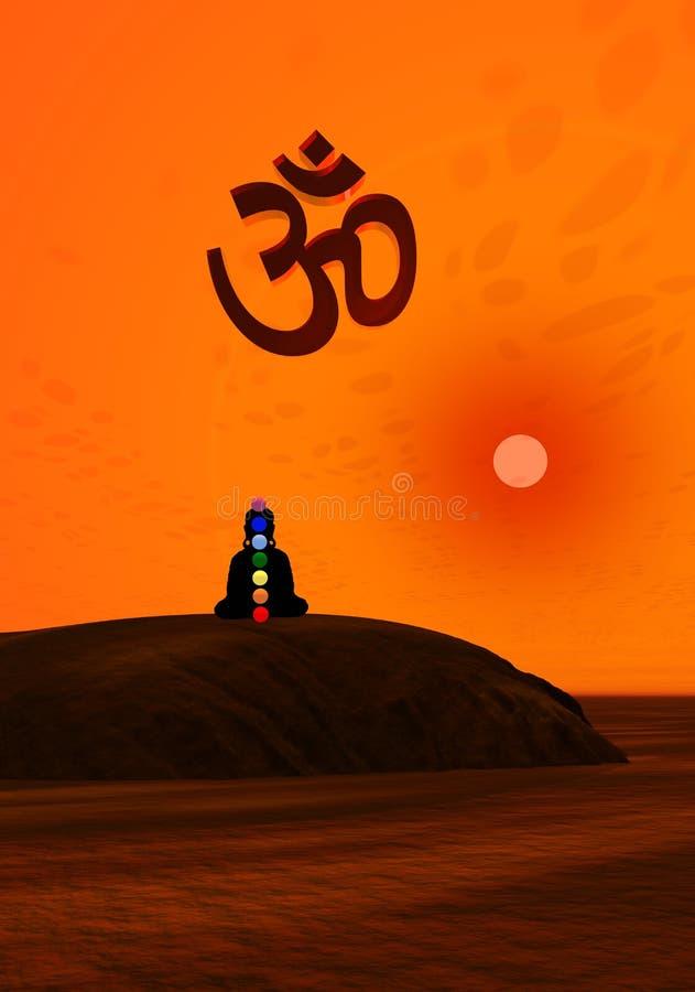Chakras na meditação ilustração do vetor