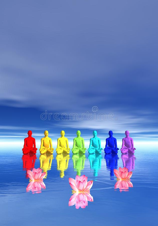 Chakras na meditação ilustração royalty free