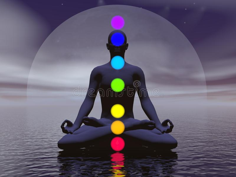 Chakras at night- 3D render. Silhouette of a man meditating with seven colorful chakras upon ocean by full moon dark night vector illustration