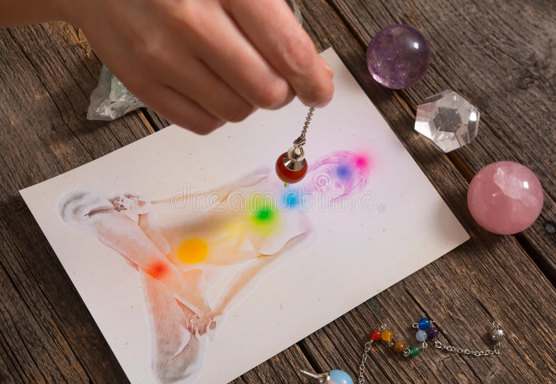 Chakras over a human body royalty free stock photos