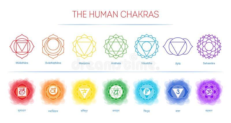 Chakras plaatste: muladhara, swadhisthana, manipura, anahata, vishuddha, ajna, sahasrara Vectorlijnsymbool Om teken Rokerige cirk vector illustratie