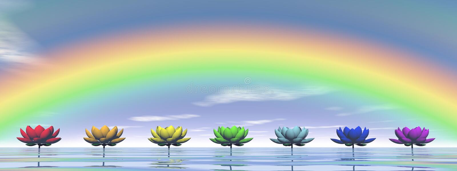 Chakras and rainbow - 3D render royalty free illustration