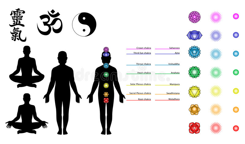 chakras reiki符号瑜伽 皇族释放例证