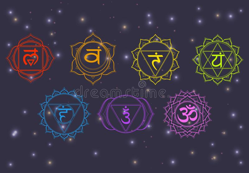 Chakras set: muladhara, swadhisthana, manipura, anahata, vishuddha, ajna, sahasrara. Vector line symbol on a dark sky with shining. Stars. Om sign on a black stock illustration