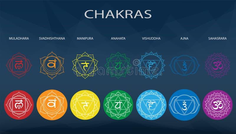 Chakras set: muladhara, swadhisthana, manipura, anahata, vishuddha, ajna, sahasrara. Vector line symbol. Om sign on a black. Background. EPS 10 Vector royalty free illustration