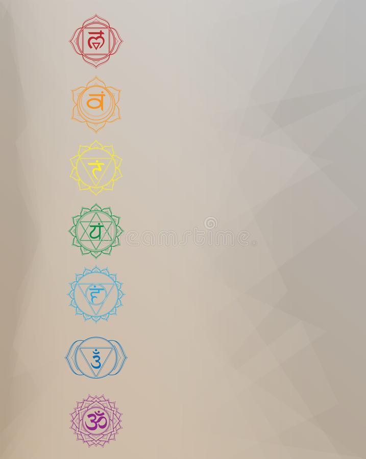 Chakras set: muladhara, swadhisthana, manipura, anahata, vishuddha, ajna, sahasrara. Vector logo art line symbol. Om sign on a. Background. EPS 10 simple vector vector illustration