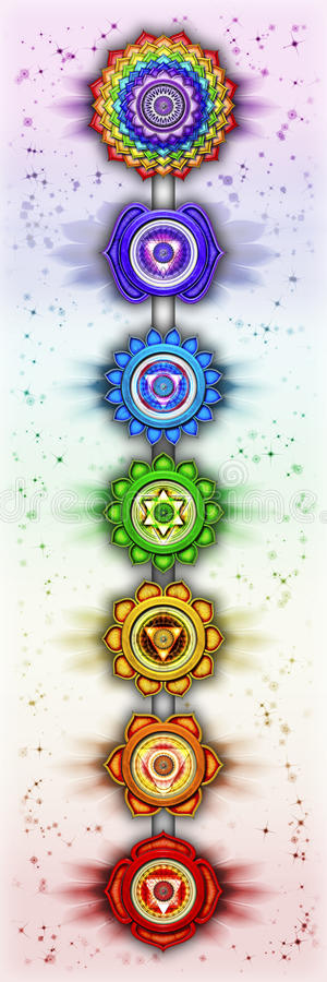 chakras sju royaltyfri illustrationer