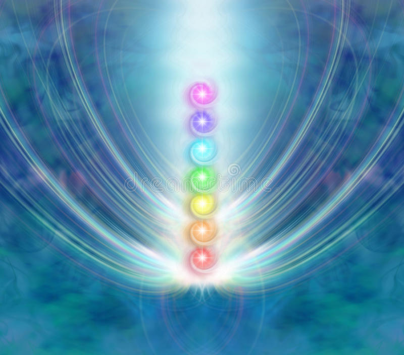 chakras sju stock illustrationer