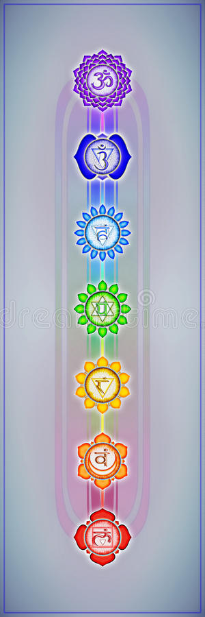 chakras sju stock illustrationer