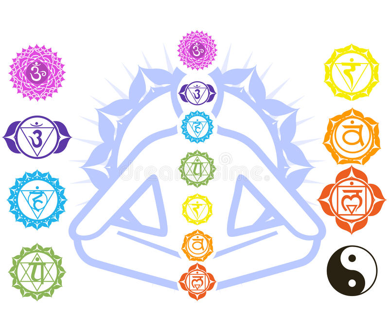 Chakras and spirituality symbols royalty free illustration