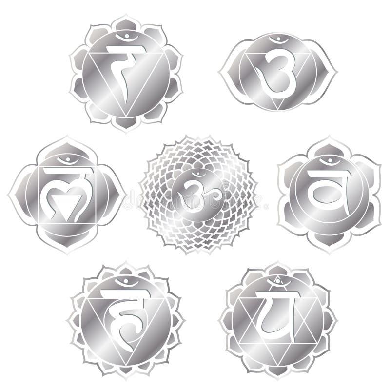 chakras srebro ilustracji