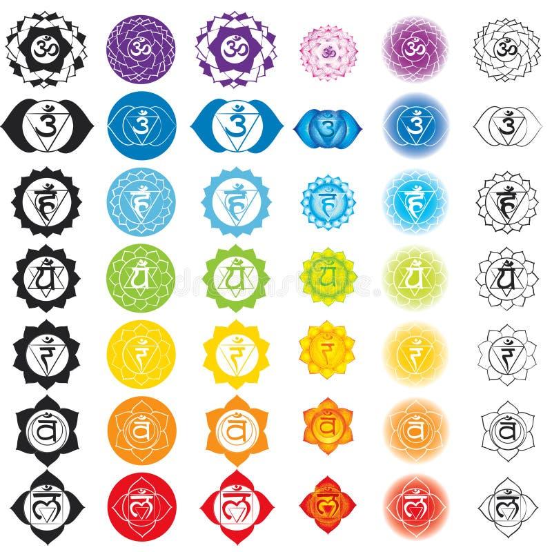 Chakras symboler Begrepp av chakras som används i Hinduism, buddism och Ayurveda För design förbundet med yoga och Indien royaltyfri illustrationer