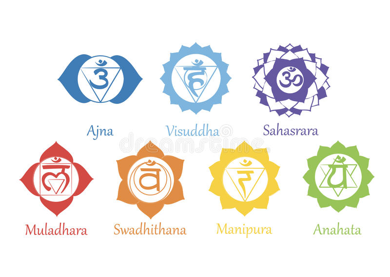 Chakras symboler Begreppet av chakras som används i Hinduism, buddism och Ayurveda För design förbundet med yoga och Indien vekto vektor illustrationer
