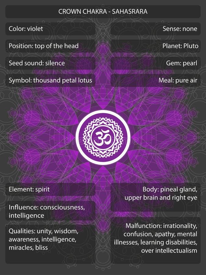 Chakras symboler med infographic betydelser stock illustrationer
