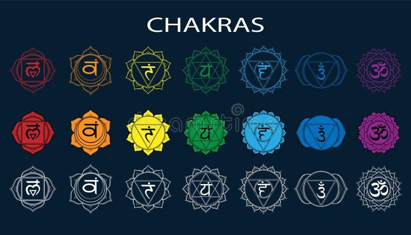 Chakras ustawia: muladhara, swadhisthana, manipura, anahata, vishuddha, ajna, sahasrara Wektoru kreskowy symbol Om podpisuje na c royalty ilustracja