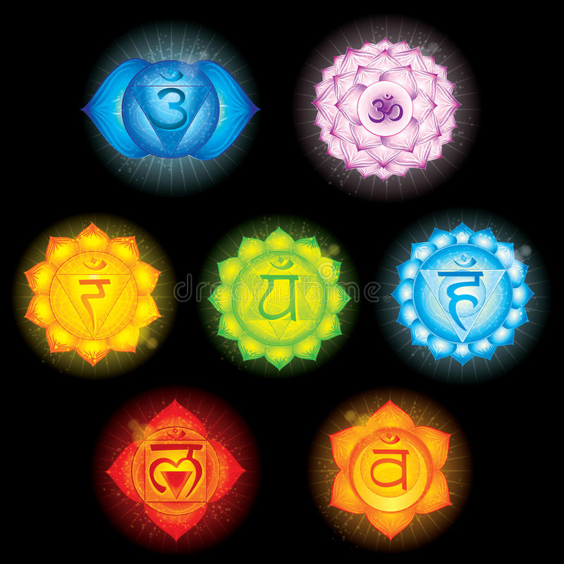 chakrasymboler stock illustrationer