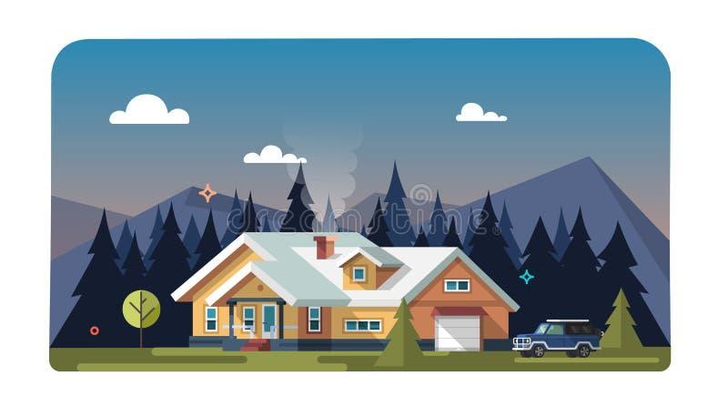 Chalé, casa de madeira, casa do eco ilustração stock