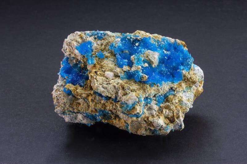 Chalcophyllite błękitny kryształ od Nowego - Mexico, usa zdjęcie stock