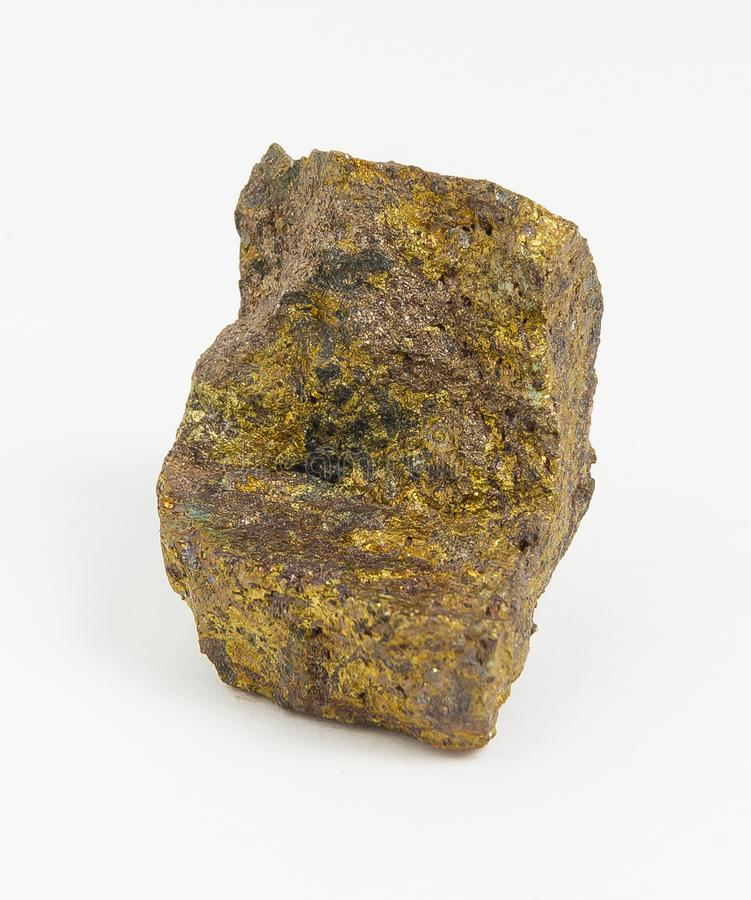 Ore Chalcopyrite on white background. royalty free stock image
