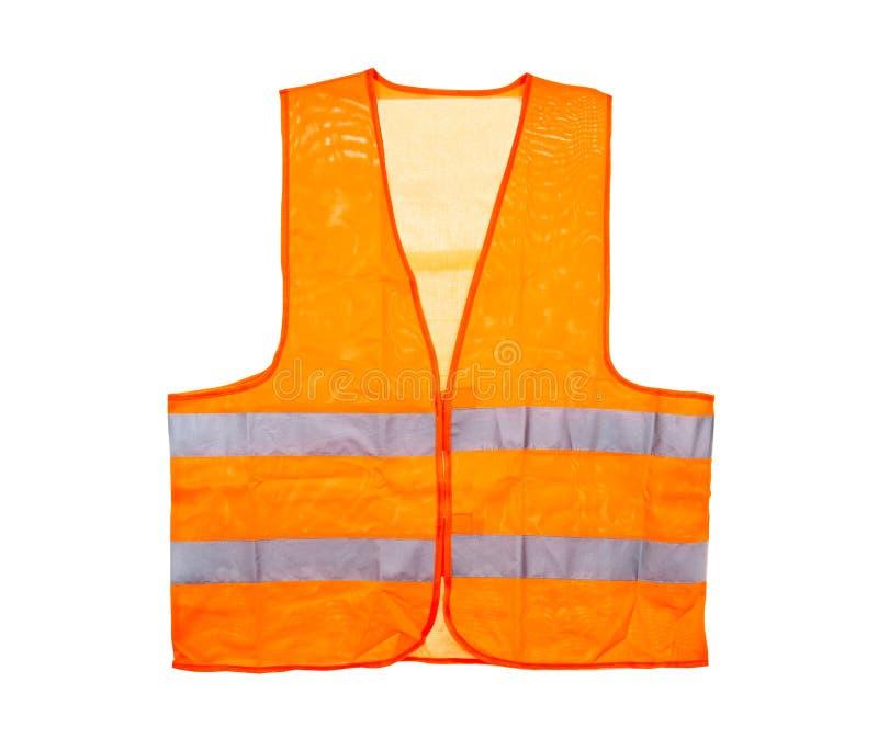 Chaleco anaranjado de la seguridad, aislado en un fondo blanco con una trayectoria que acorta fotografía de archivo libre de regalías