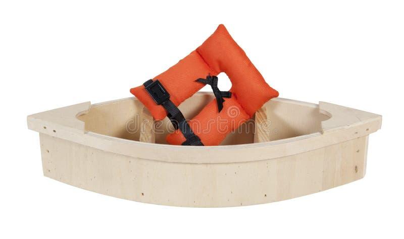 Chaleco De Vida En Barco De Madera Imagen de archivo