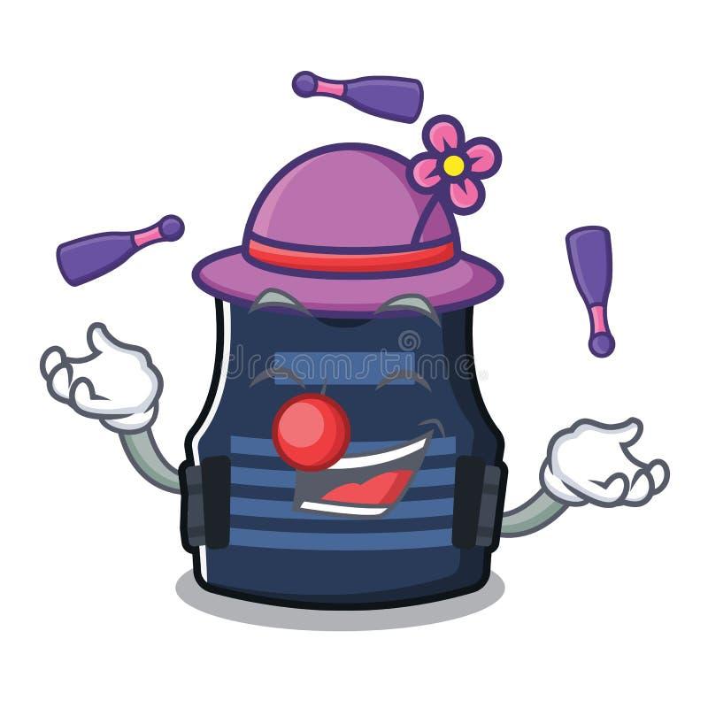 Chaleco del bulletprof que hace juegos malabares almacenado en armario de la historieta stock de ilustración