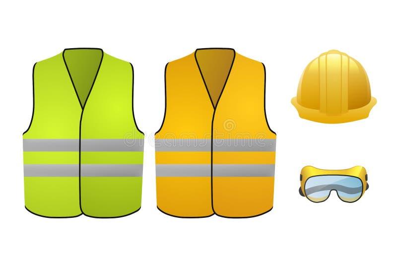 Chalecos anaranjados y verdes de la seguridad Equipo de seguridad Vidrios y casco Ilustración del vector aislada en el fondo blan