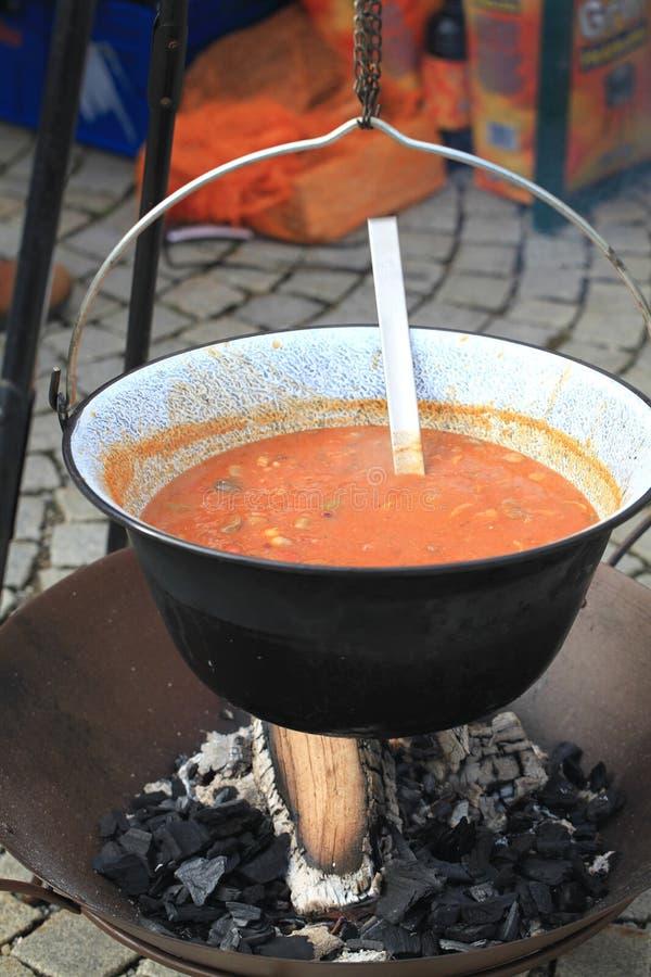 Chaleira com a sopa vegetal que pendura sobre o fogo do acampamento fotografia de stock royalty free
