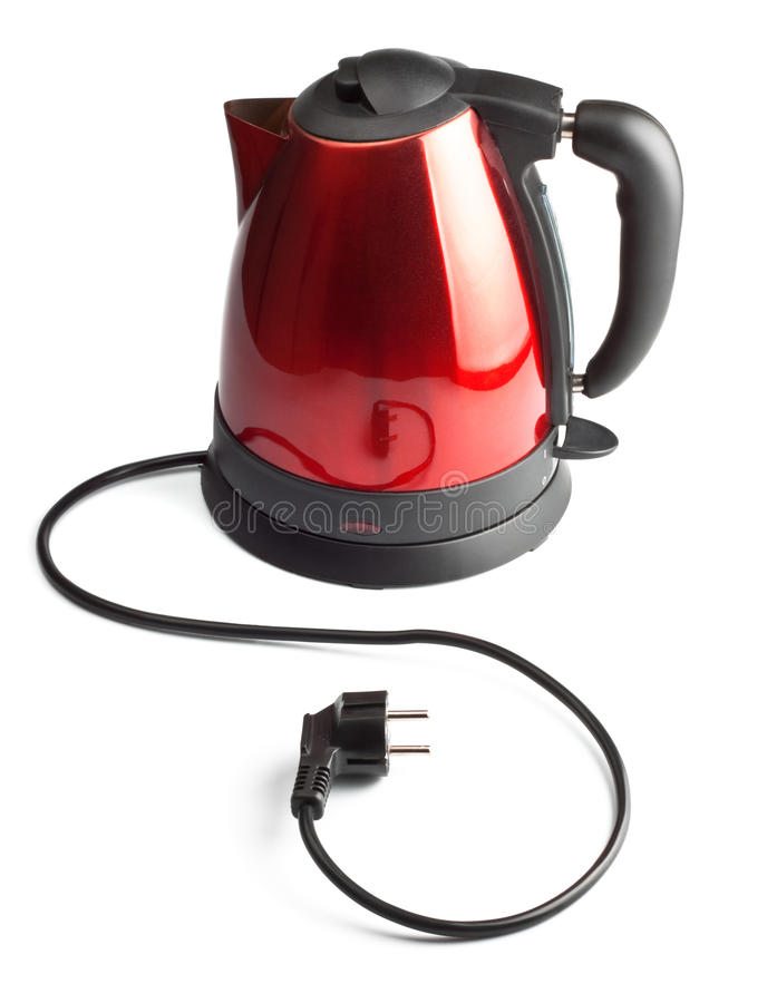 Chaleira de chá elétrica vermelha e preta fotos de stock